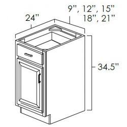 Faircrest Aspen White Kitchen Cabinet Single Door Single Drawer Base FC-ASP-B21