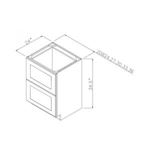 "24"" 2 Drawer Base Cabinet 2db24"