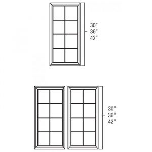 "Bristol Chocolate 30"" x 42"" Double Glass Mullion Doors MD3042"
