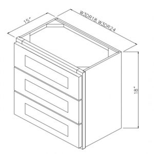 """24"""" Wall 3 Drawer Cabinet W3DR24"""