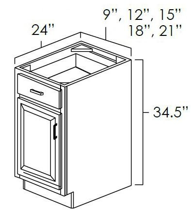 """Base Cabinet . It Measures 12""""Wx24""""Dx34.5""""H With Single Door, Drawer And 1/2 Depth Adjustable Shelf. B12"""