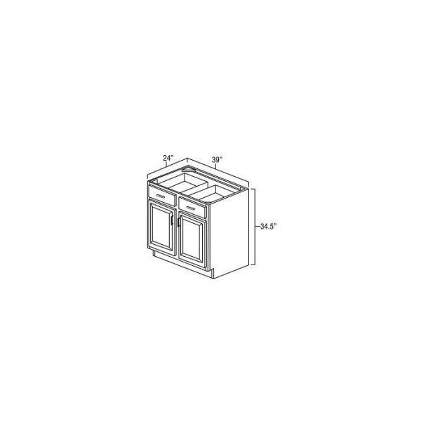 """Base Cabinet 39""""Wx24""""Dx34.5""""H With Double Door, Drawer And Single 1/2 Depth Adjustable Shelf. B39"""