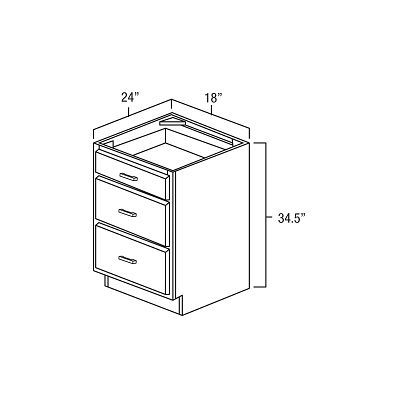 """Three Drawerbase 18"""". It Measures 18""""Wx24""""Dx34.5""""H With 3 Drawer. All Styles Have One Standard Drawer On Top And Two Deep Drawers Below. db18"""