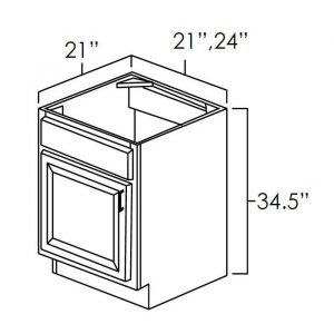 """Vanity Sink Base Cabinet 21""""Wx21""""D . It Measures 21""""Wx21""""Dx34.5""""H With Single Door And Drawer Front."""