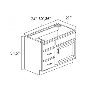 """Vanity Combo Bases 24""""Wx21""""D With Drawer.It Measures 24""""Wx21""""Dx34.5H With 3 Drawers On Left."""