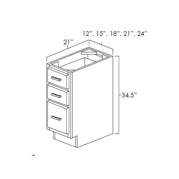 """Vanity Drawer Base 12""""Wx21""""D. It Measures 12""""Wx21""""Dx34.5""""H With 3 Drawers. VDB1221"""